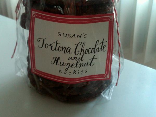 Chocolate tortona cookies as gift